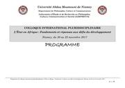 programme du colloque de niamey sur l etat