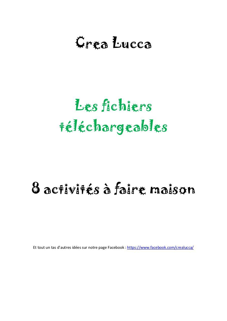 Activités À Faire À La Maison 8 activités à faire maison par aurélie bec - fichier pdf