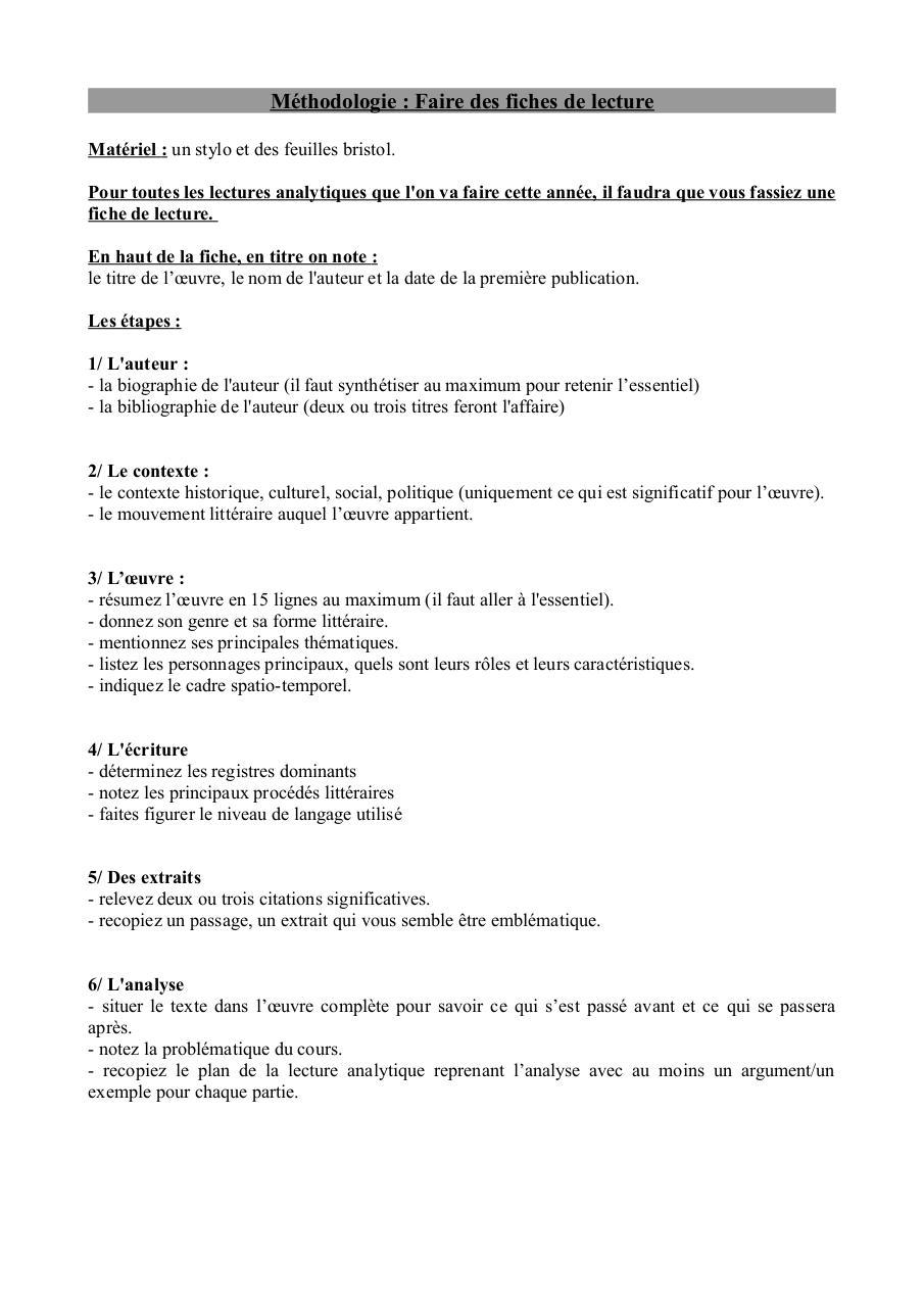 méthodo pour faire une fiche de lecture pdf par Jennifer ...