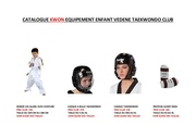 catalogue tenue et protection enfant vedene taekwondo club