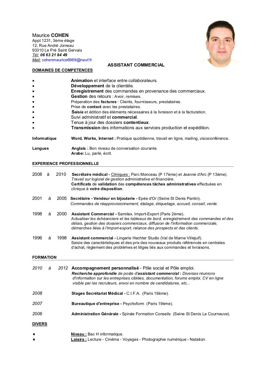 cv  lm de maurice cohen assistant commercial avec photo - page 1  2
