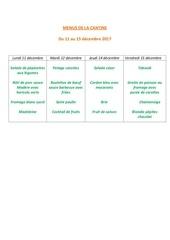 menus de la cantine 11 decembre