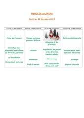 menus de la cantine 18 decembre