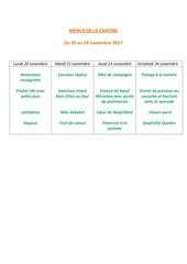 menus de la cantine 20 novembre