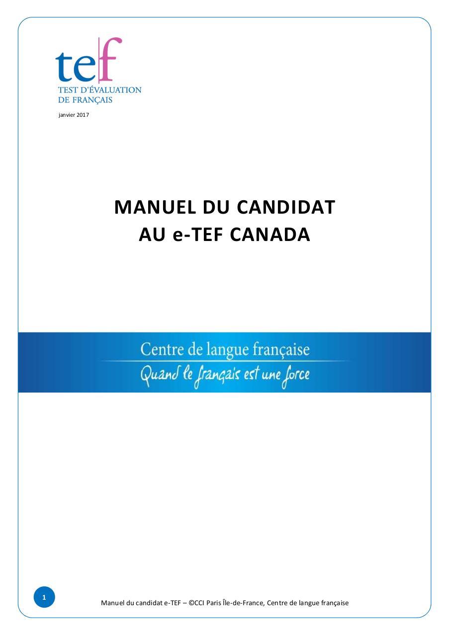MANUEL e TEF Canada 20 12 2016 par adecreton - MANUEL-candidat-e-TEF