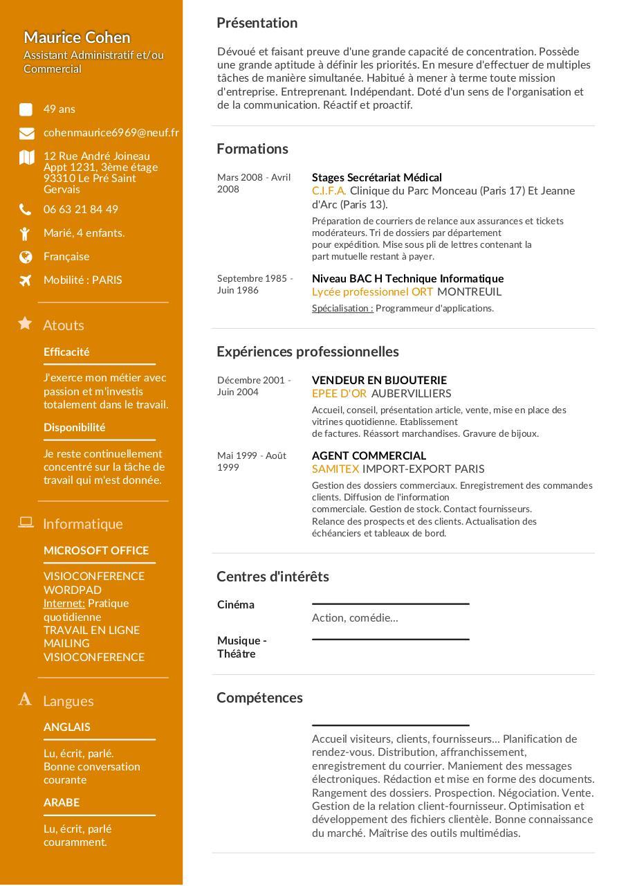 cohen maurice  assistant administratif  commercial  cv
