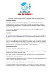 reglement du concours karaland 1