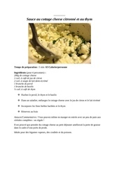 sauce au cottage cheese citronne et au thym