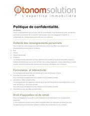politique de confidentialite otonom solution