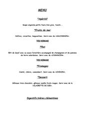 Fichier PDF menu