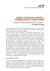 its armes a energie dirigee possibilites et limitations