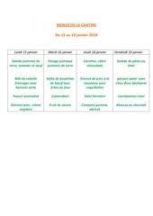 menus de la cantine 15 janvier