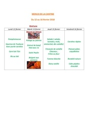 menus de la cantine 12 fevrier