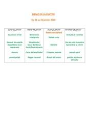 menus de la cantine 22 janvier