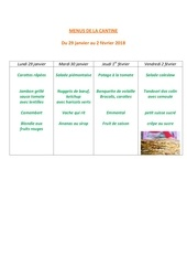 menus de la cantine 29 janvier