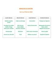 menus de la cantine 5 fevrier