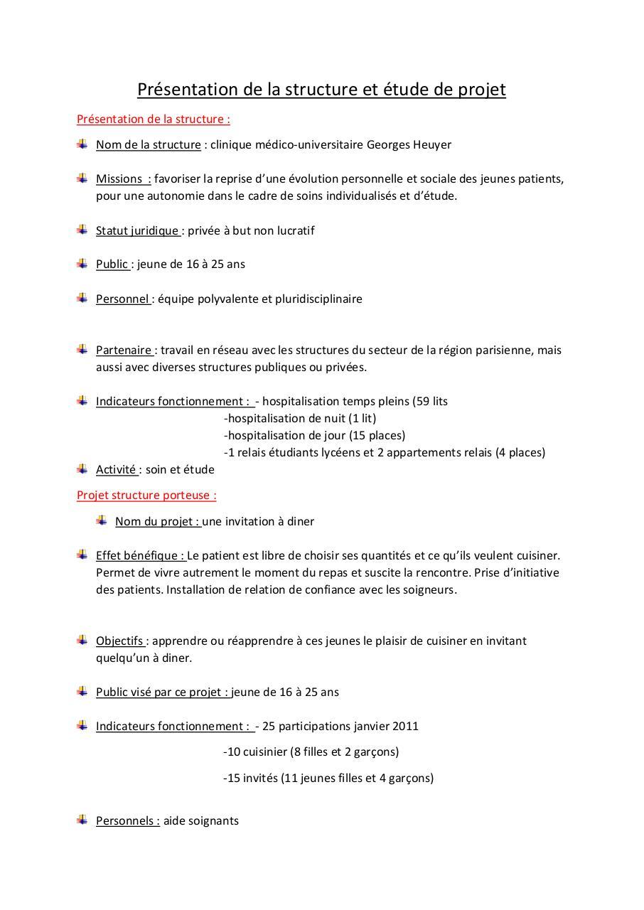 Presentation De La Structure Et Etude De Projet Par Eleve Fichier Pdf