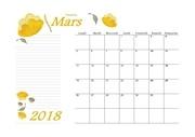 03 calendrier mars 2018 aquarelle a4 paysage recettesbox