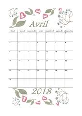 04 calendrier avril 2018 aquarelle a4 portrait recettesbox