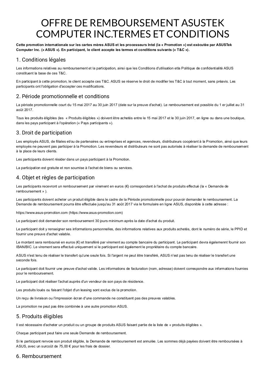 ODR ASUS - Terms and Conditions France [FR] _ asus-promotion.pdf - page 1/4
