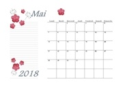 05 calendrier mai 2018 aquarelle a4 paysage recettesbox