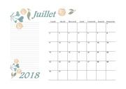 07 calendrier juillet 2018 aquarelle a4 paysage recettesbox