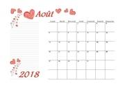 08 calendrier aout 2018 aquarelle a4 paysage recettesbox