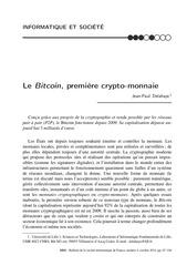 le bitcoin premiere crypto monnaie