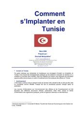 comment s implanter en tunisie guide investissement tunisie