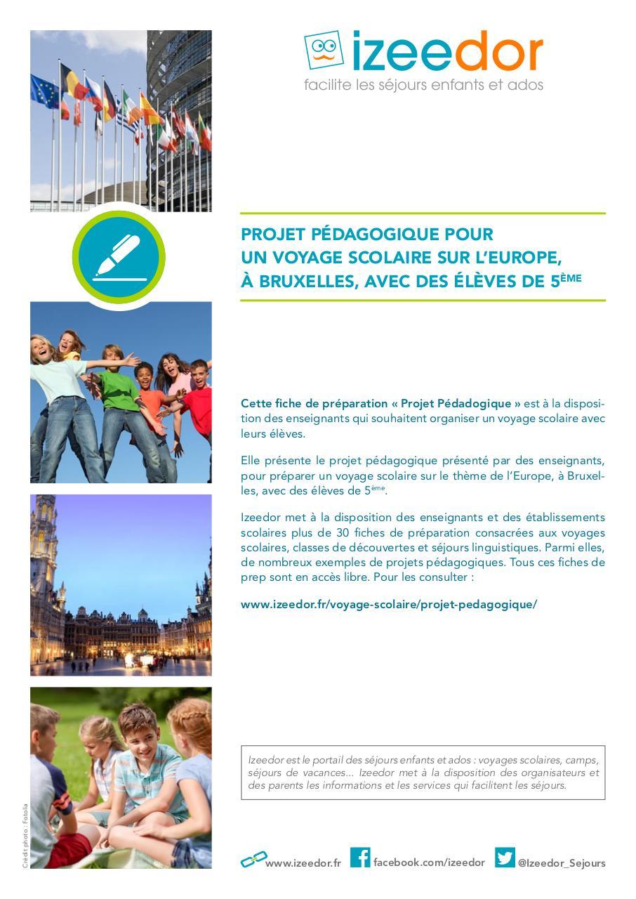 Projet Pédagogique Voyage Scolaire Sur L Europe à Bruxelles
