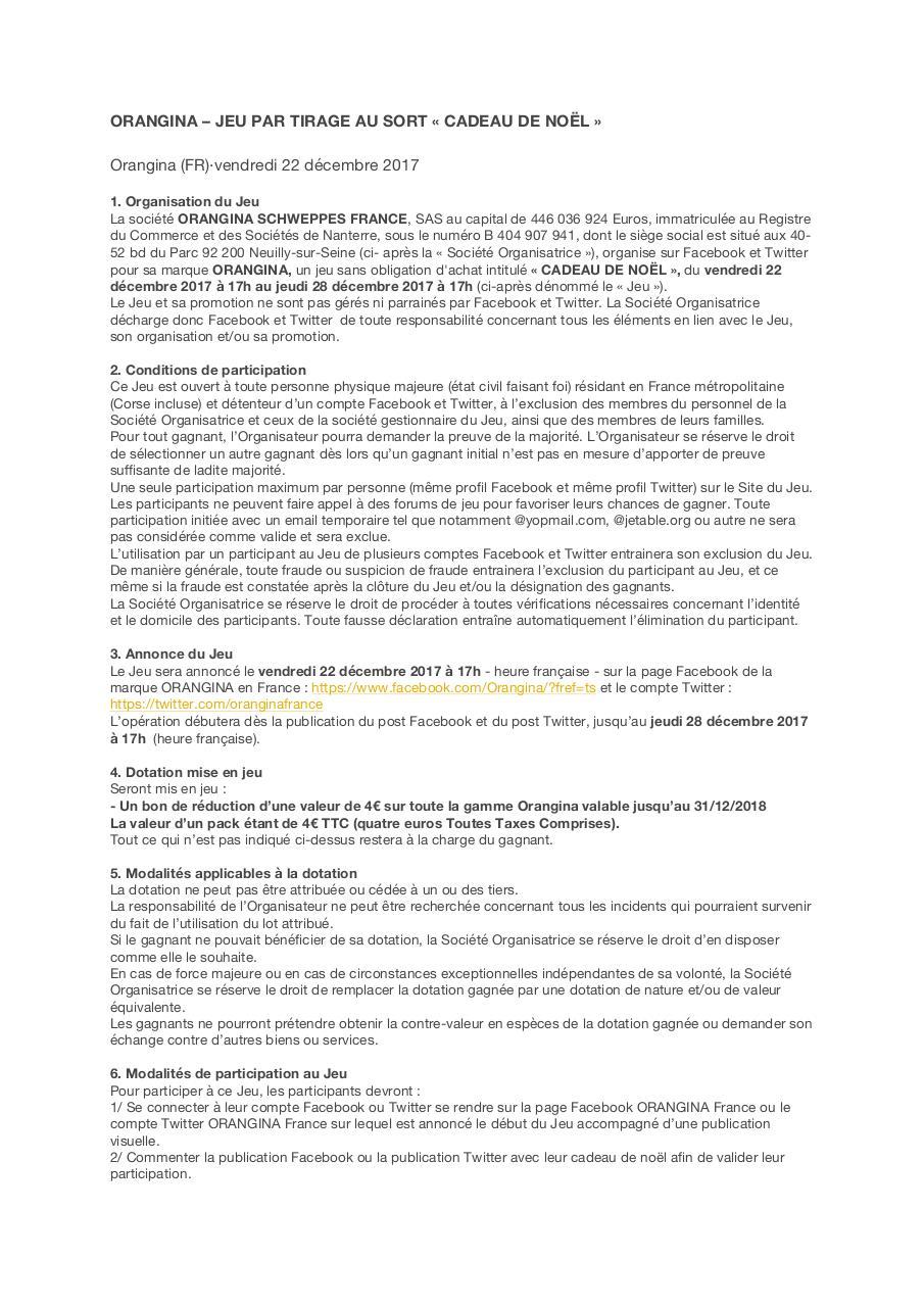 Recherche pdf orangina - Tirage au sort cadeau de noel ...