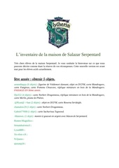 inventaire serpentard nouvelle version