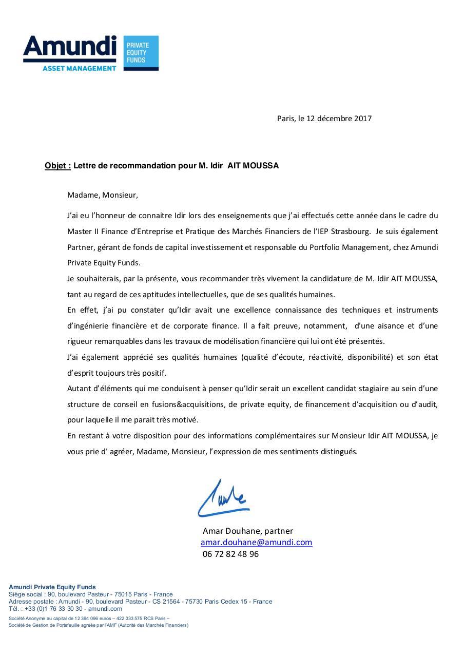 cv lettre de recommandation