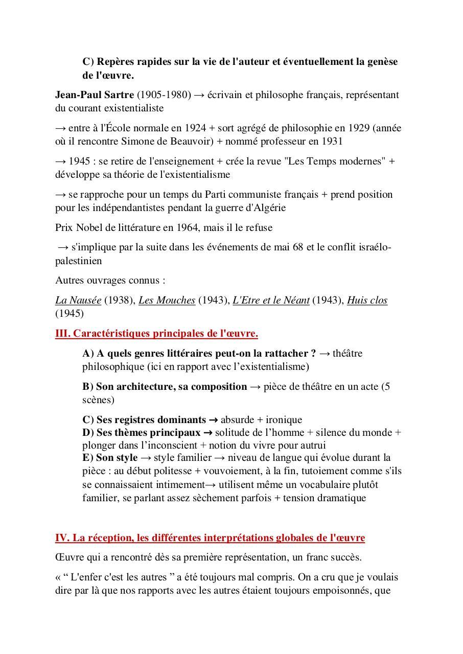 Huis Clos Sartre Par Zoé Skrzypczak Fichier Pdf