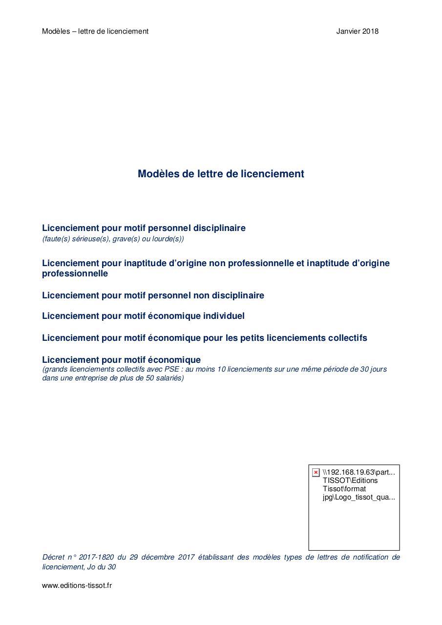 Modele Lettre Licenciement Par Nicolas Fichier Pdf