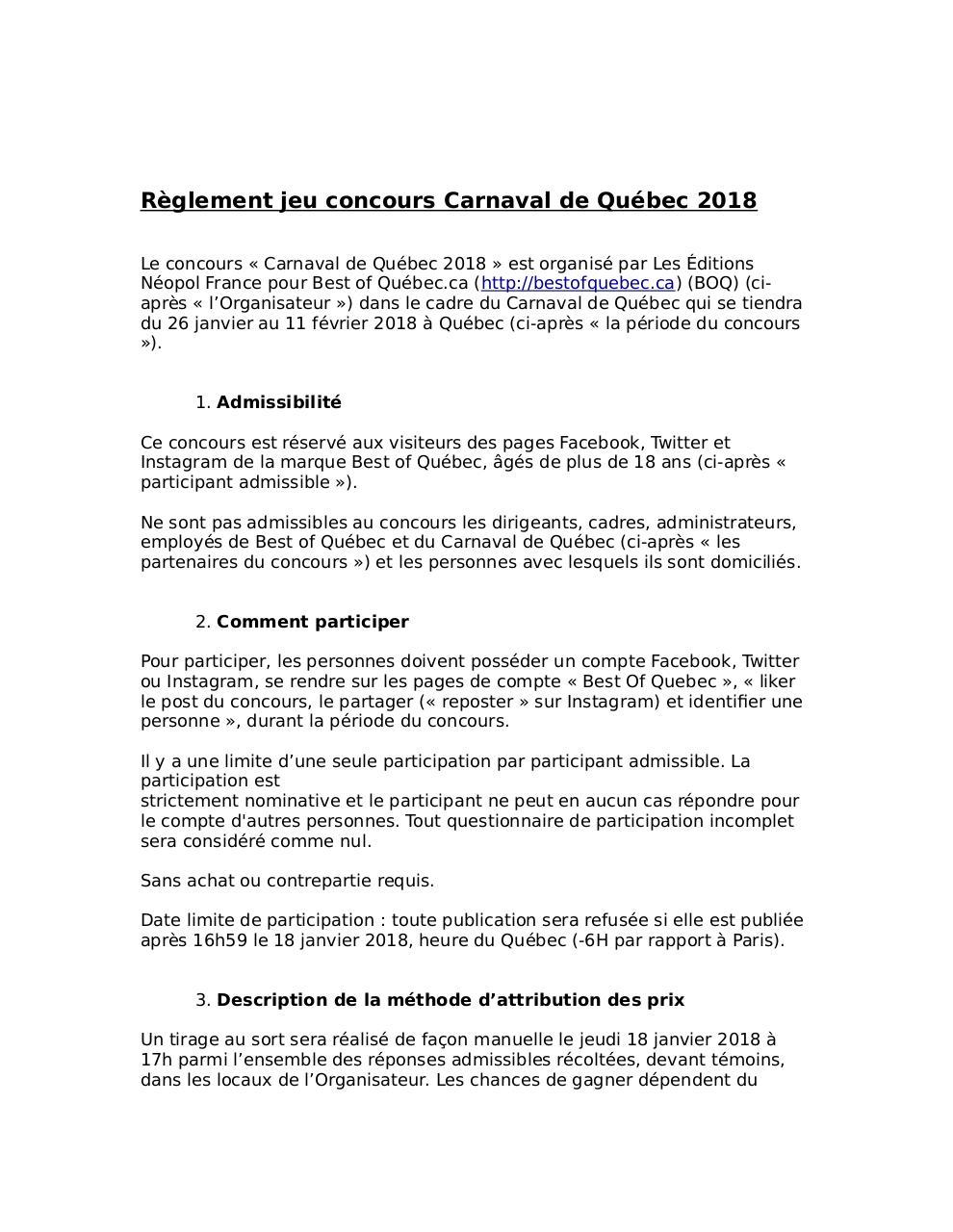 Aperçu Réglement jeu concours Carnaval de Québec 2018.pdf - Page 1/4