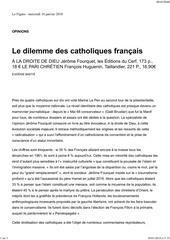 eugenie bastie le dilemme des catholiques francais