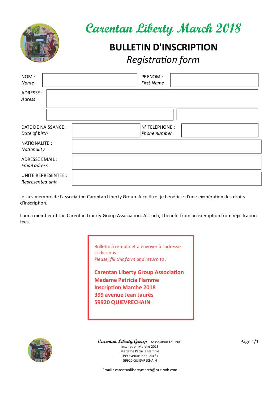 Aperçu du document CLM 2018 - BULLETIN INSCRIPTION - REGISTRATION FORM -  CLG.pdf - page 1/1
