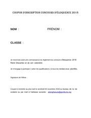 coupon d inscription concours eloquence 2018