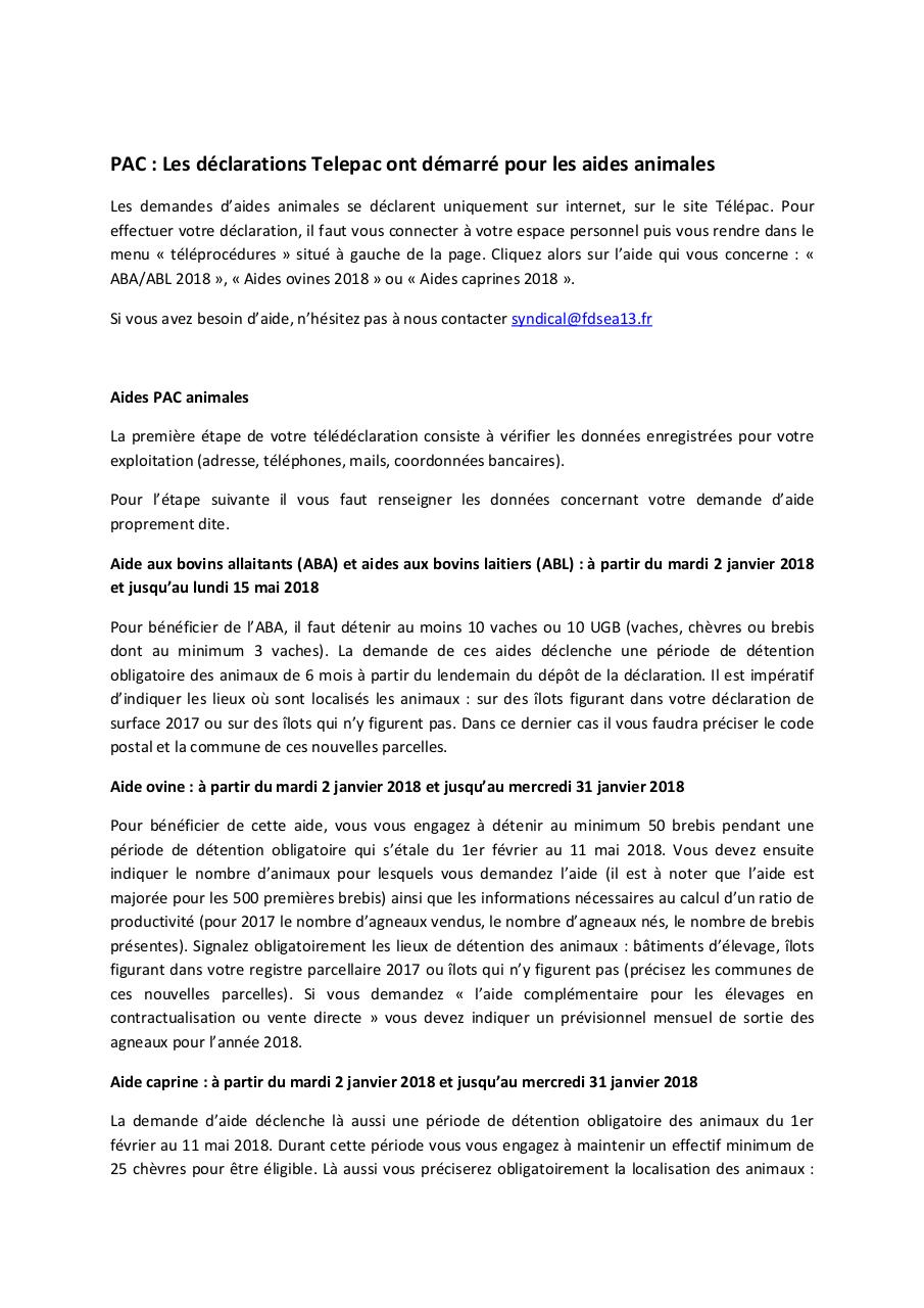 Aperçu du document Aides PAC animales 2018.pdf - page 1/2