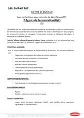 offre d emploi agents de fermentation
