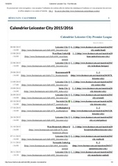 calendrier leicester city foot mercato