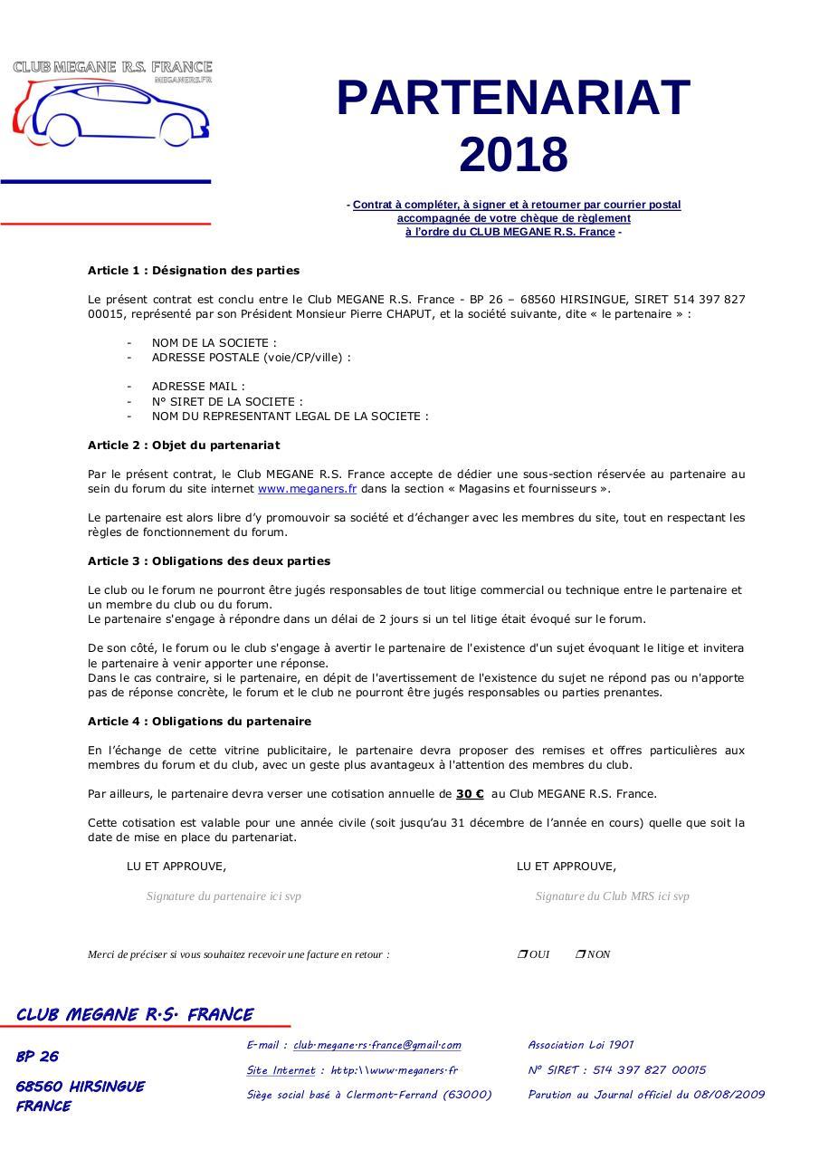 Contrat de partenariat type 2018 par Michelin - Fichier PDF