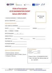 Fichier PDF fiche d inscription clto badminton event