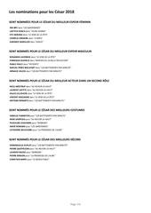 liste nominations aux cesar 2018 annonce