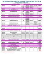 calendrier saison 2017 2018 modifie le 30 janvier 2018
