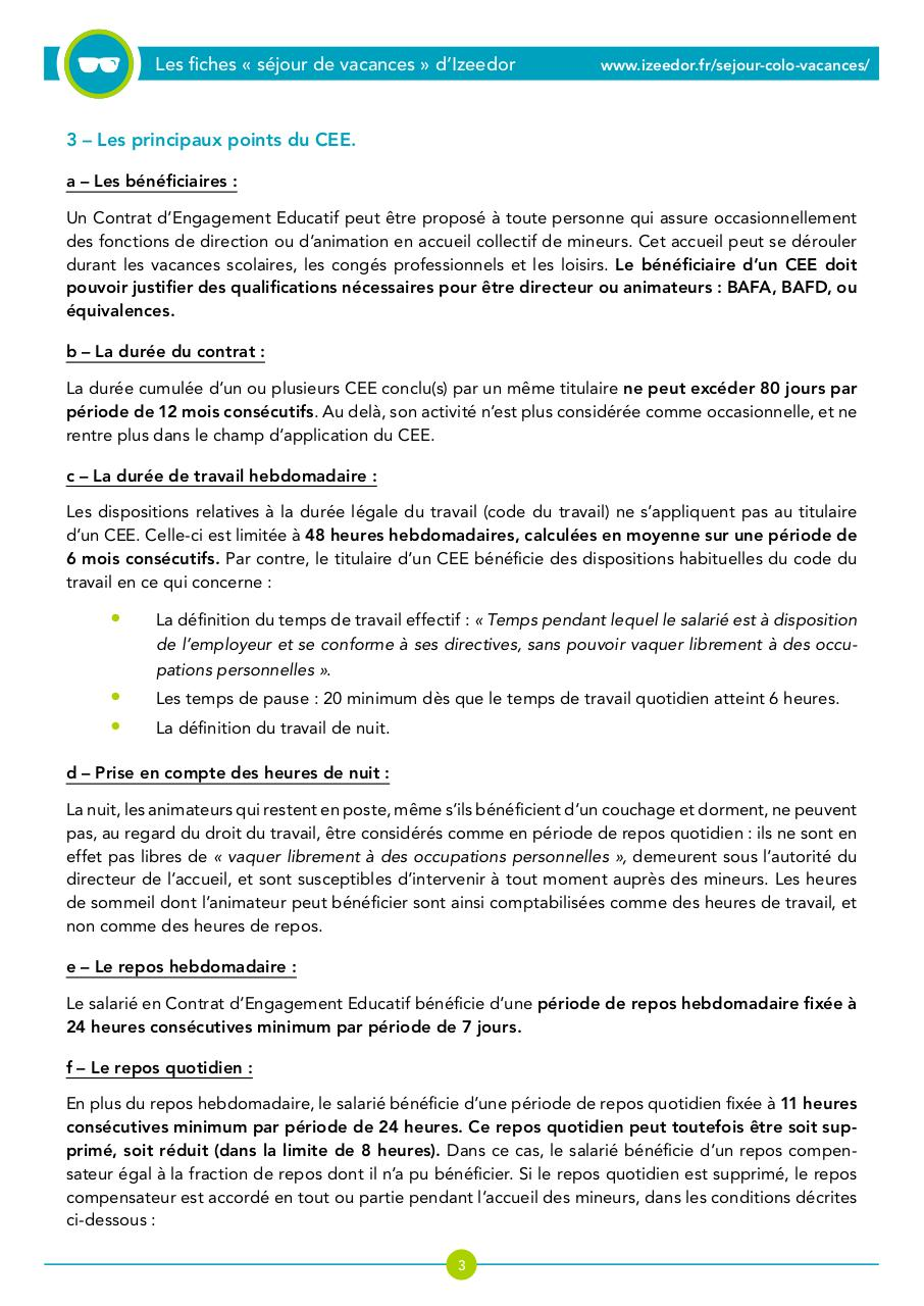 Fiche De Preparation Colos Le Contrat D Engagement Educatif Ou Cee