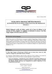 cp pp vigilance orange meteo et pnvif niveau