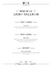 2018 valentine s day menu