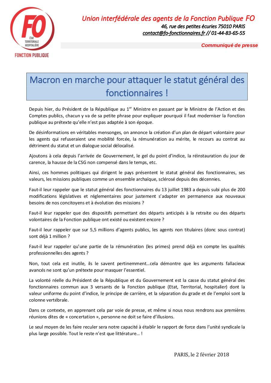 2018 02 02 Communique De Presse Uiafp Fap Par Martine Fichier Pdf